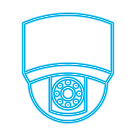 ceiling surveillance camera security technology vector illustration blue neon line image