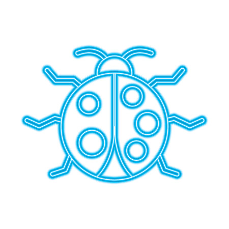 virus bug alert error insect animal vector illustration blue neon line image Illustration