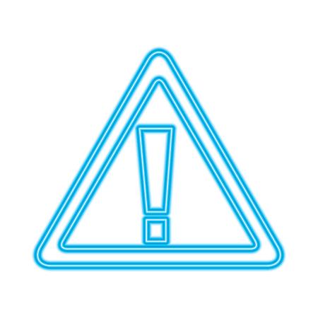 サインボード警告警告エラーシンボルベクトルイラスト青いネオンライン画像  イラスト・ベクター素材