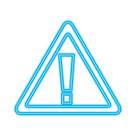 sign board warning alert error symbol vector illustration blue neon line image