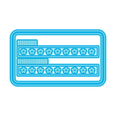 security access password login protection vector illustration blue neon line image Stock Illustratie