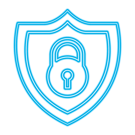 shield protection padlock secure data vector illustration blue neon line image