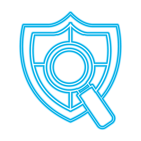 shield protection magnifier search data information vector illustration blue neon line image