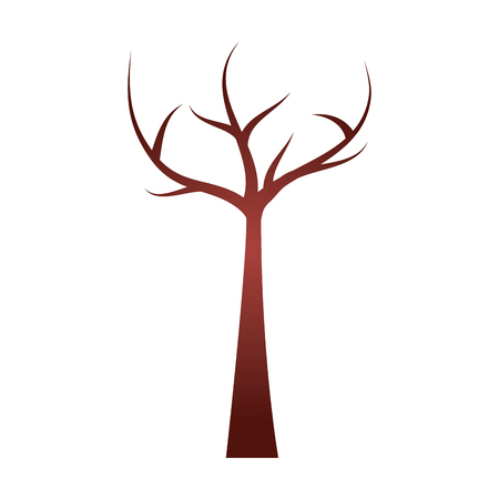 tree with dead branches dry ecology vector illustration