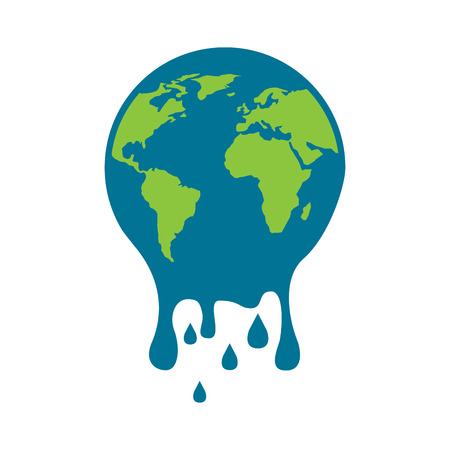 melting globe planet earth warming environment concept vector illustration Stok Fotoğraf - 96041653