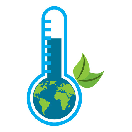 earth planet inside thermometer leaves environment warning symbol vector illustration Illustration