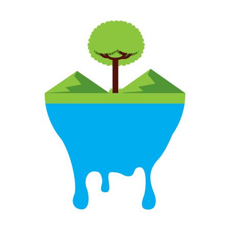 leafy tree mountains melted landscape warning vector illustration Ilustrace