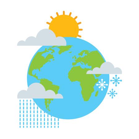weather world earth winter rain sun snow vector illustration Illustration