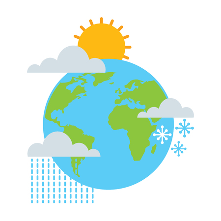 weather world earth winter rain sun snow vector illustration Stock Illustratie