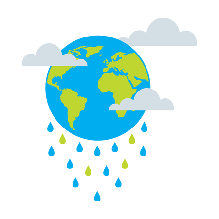 globe planet world cloud rain storm vector illustration