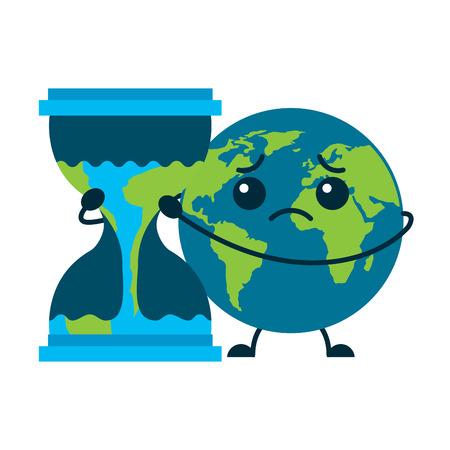 漫画悲しい地球の惑星は砂時計の時計ベクトルのイラストを抱きしめる
