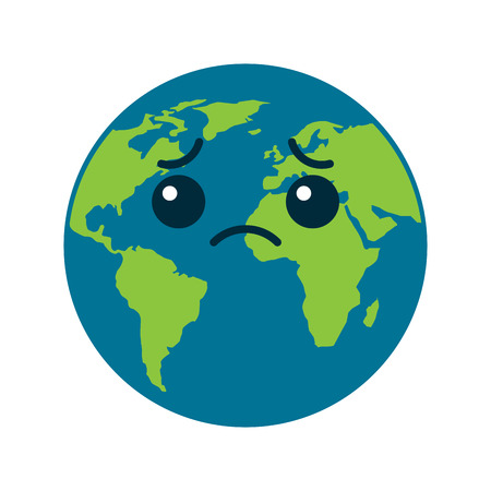 cartoon earth globe planet sad character vector illustration Çizim
