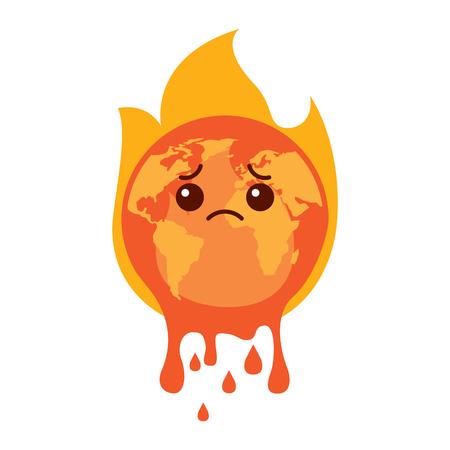 cartoon melted sad burning earth globe world vector illustration