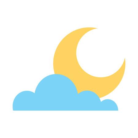 cloud half moon weather sky image vector illustration Banco de Imagens - 96041666