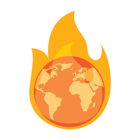 earth on fire planet is burning disaster warning vector illustration