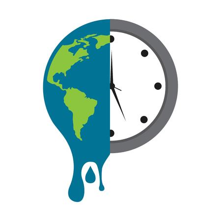 smeltende aarde planeet en klok tijd milieu vector illustratie