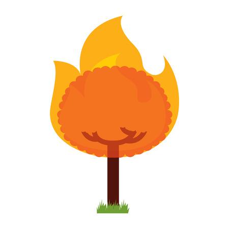 round fire tree burning damage ecology vector illustration