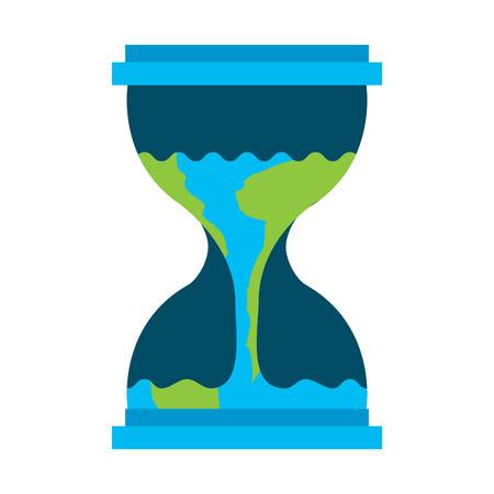 지구 흐르는 벡터 일러스트와 함께 모래 시계
