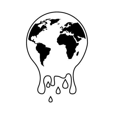 Melting planet earth vector illustration