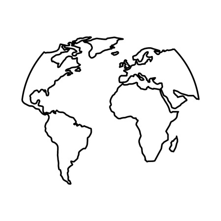 Silhouette of world map vector illustration Illustration