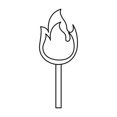 fire stick burn hot flame icon vector illustration outline graphic