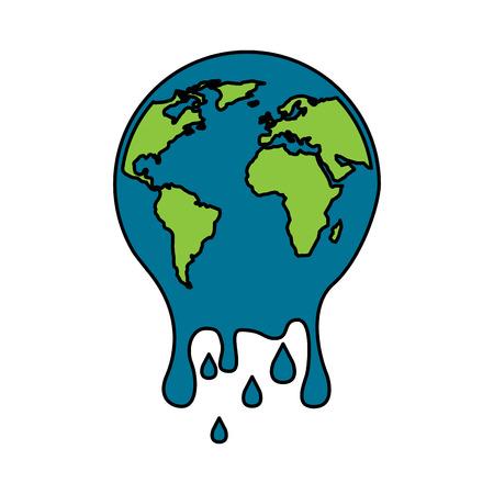 Melting planet Earth concept vector illustration