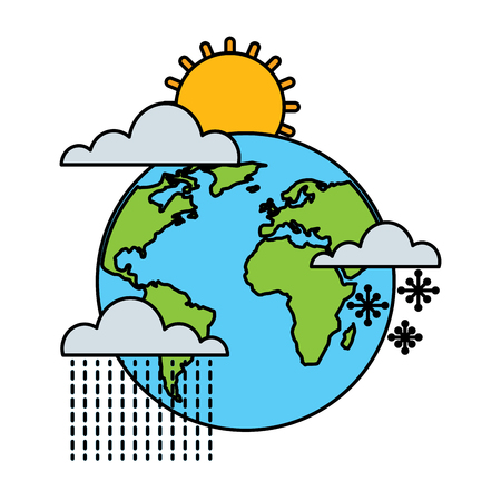 Weather in planet Earth vector illustration