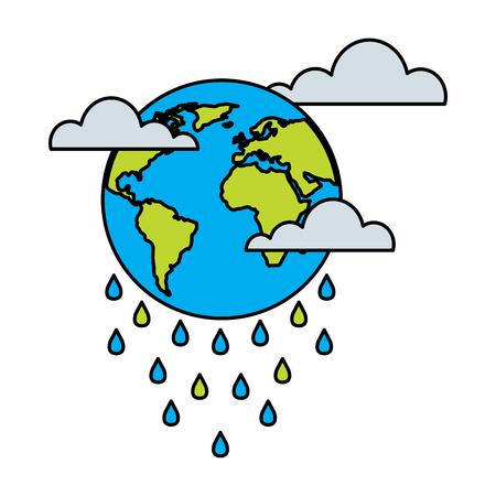 Raining Planet Earth vector illustration