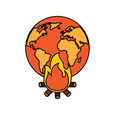 Burning Earth vector illustration