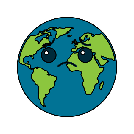 Sad Cartoon Earth icon