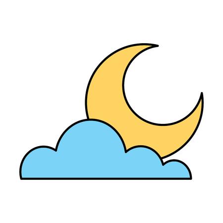 雲ベクトルのイラストの背後にある月