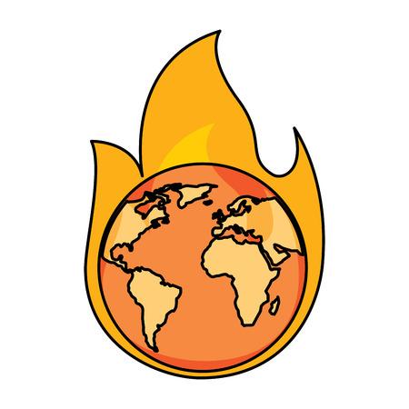 Earth on fire warning vector illustration
