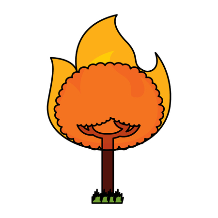 Round tree burning vector illustration