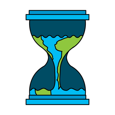 Hourglass with earth flowing vector illustration