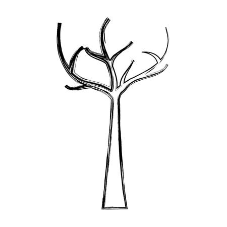 죽은 가지, 마른 생태 벡터 일러스트와 함께 나무