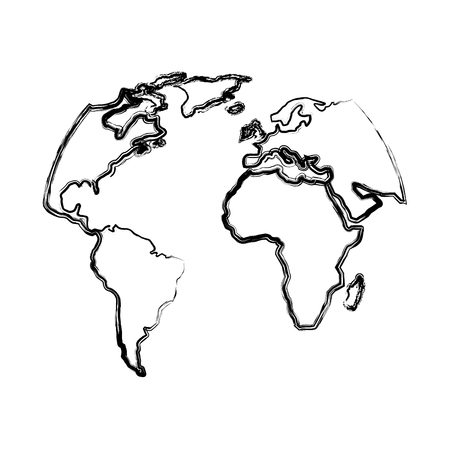 silhouette world map location planet vector illustration Illustration