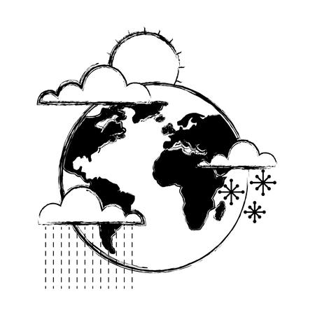 weather world earth winter rain sun snow vector illustration Ilustracja