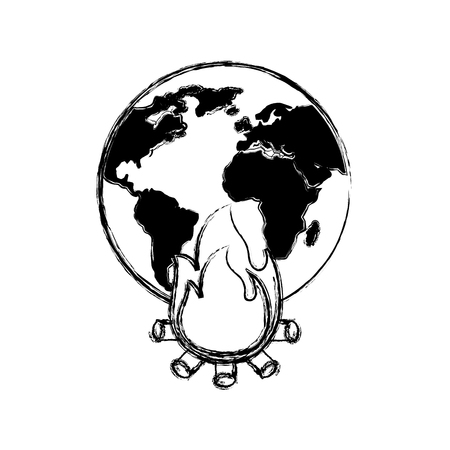 earth world globe with fire burning for climate change disasters vector illustration