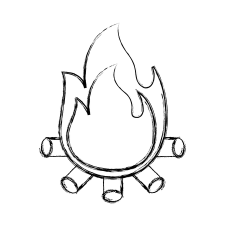 burning bonfire flame with wooden sticks vector illustration