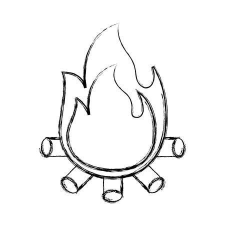 burning bonfire flame with wooden sticks vector illustration