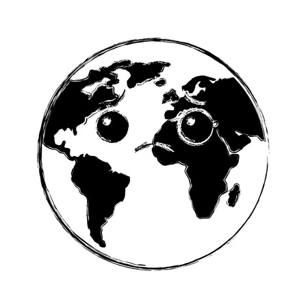 cartoon earth globe planet sad character vector illustration Illustration