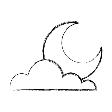 cloud half moon weather sky image vector illustration