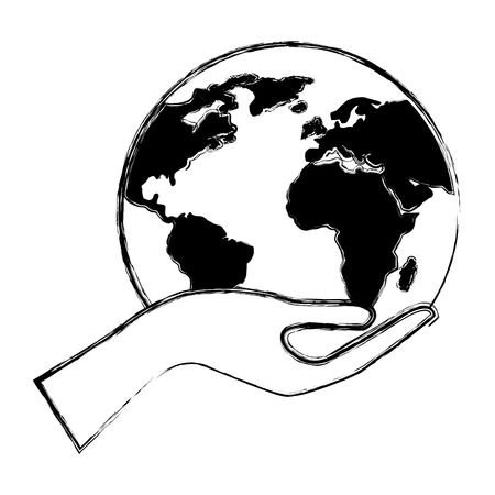 human hand holding earth globe world vector illustration