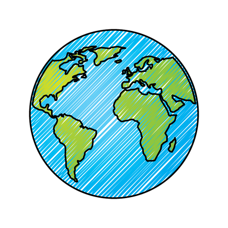 Globus Welt Erde Planeten Karte Symbol Vektor-Illustration Zeichnung Grafik