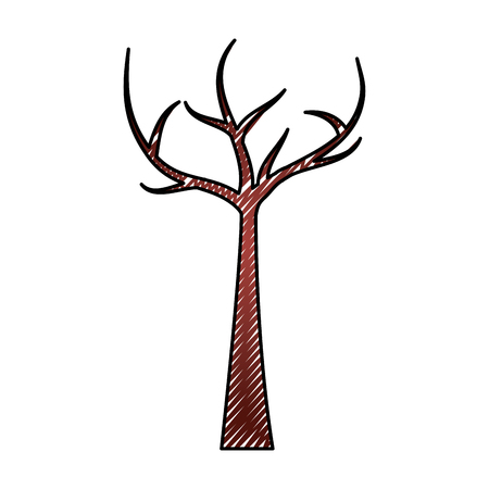 Tree with dead branches dry ecology vector illustration drawing graphic