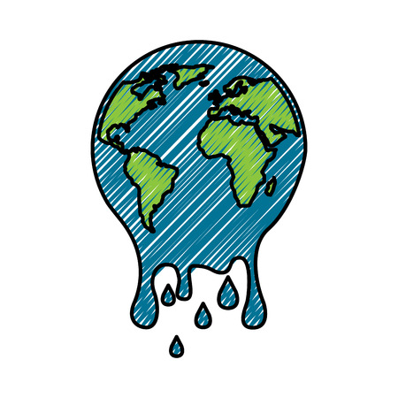 Melting  planet earth warming environment concept illustration.