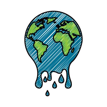 Topniejąca planeta Ziemia ilustracja koncepcja ocieplenia środowiska.