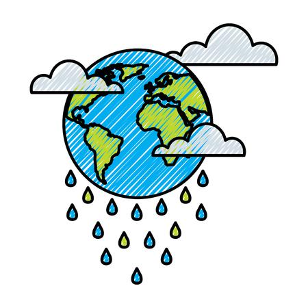 globe planet world cloud rain storm vector illustration drawing graphic Stock Illustratie