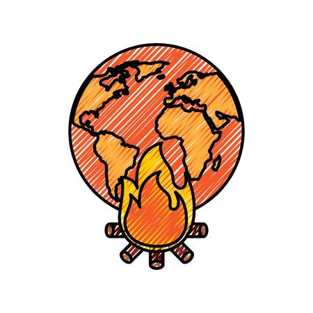 気候変動災害のための火災燃焼と地球の世界の地球の地球の図面図を描くベクトル