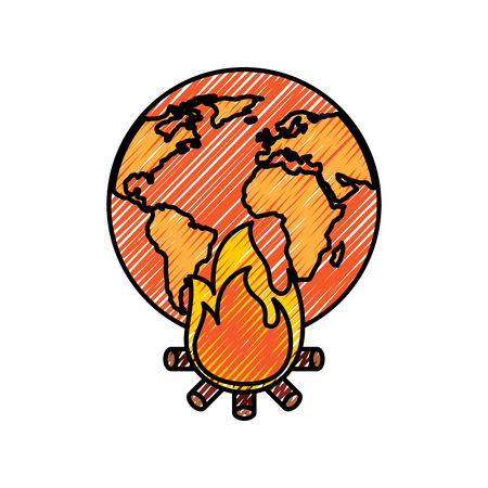 earth world globe with fire burning for climate change disasters vector illustration drawing graphic